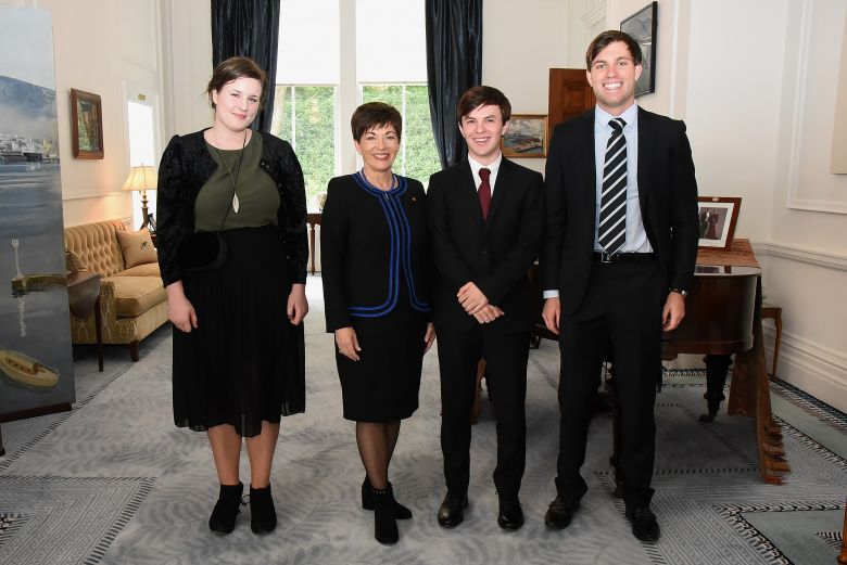The Governor-General Her Excellency The Rt Hon Dame Patsy Reddy with Jean Balchin, Jamie Beaton and Marco de Jong
